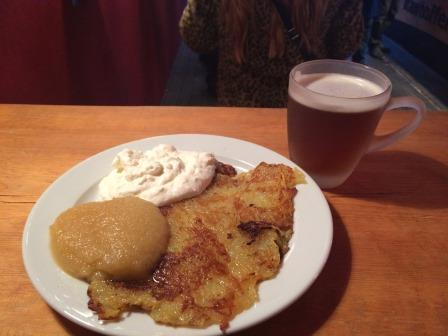 Germany Berlin Potato Latkes and Gluhbier