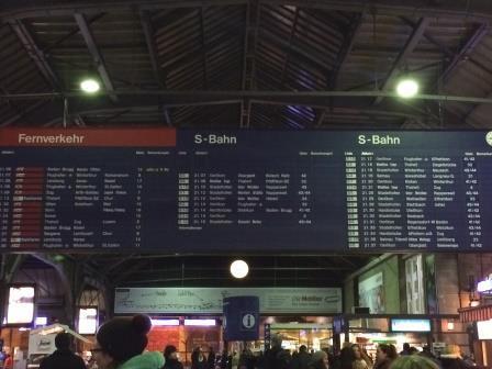 Zurich Train Station Departures Board