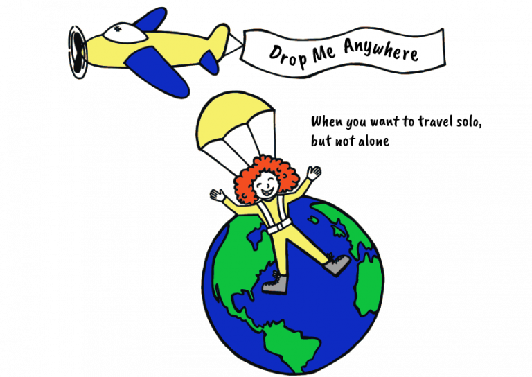 Drop Me Anywhere Logo with Airplane Tours Tagline