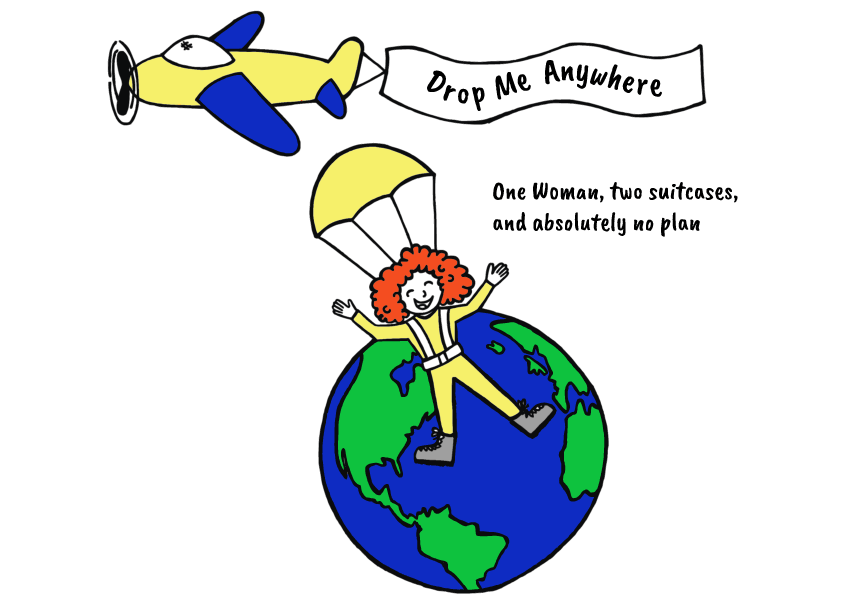 Drop Me Anywhere Logo with Airplane Blog Tagline